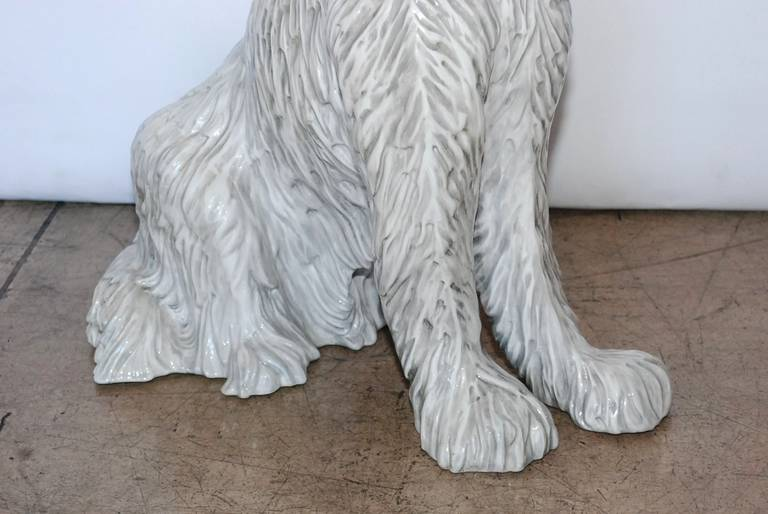 Large Vintage Italian Ceramic Dog Sculpture 5