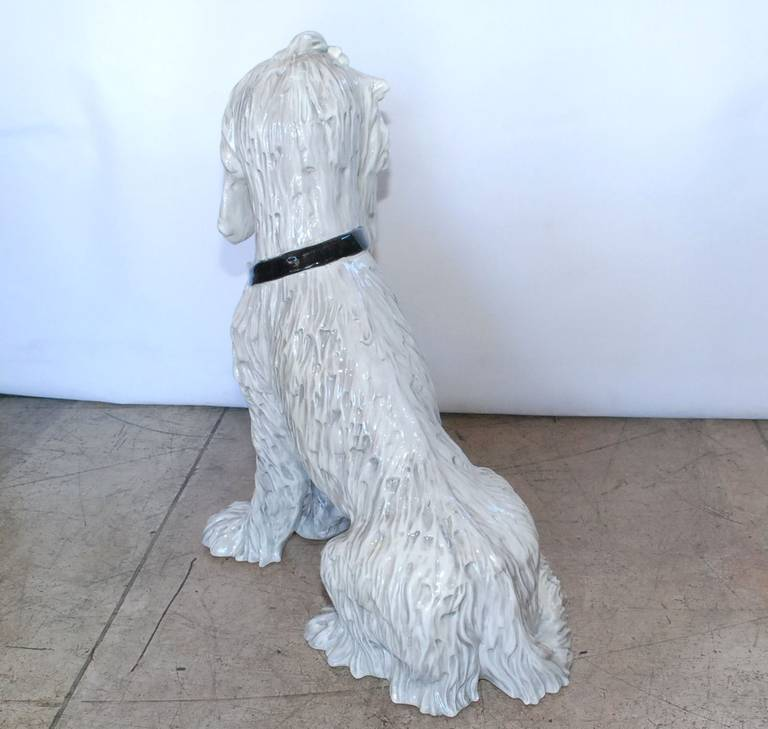 Large Vintage Italian Ceramic Dog Sculpture 6