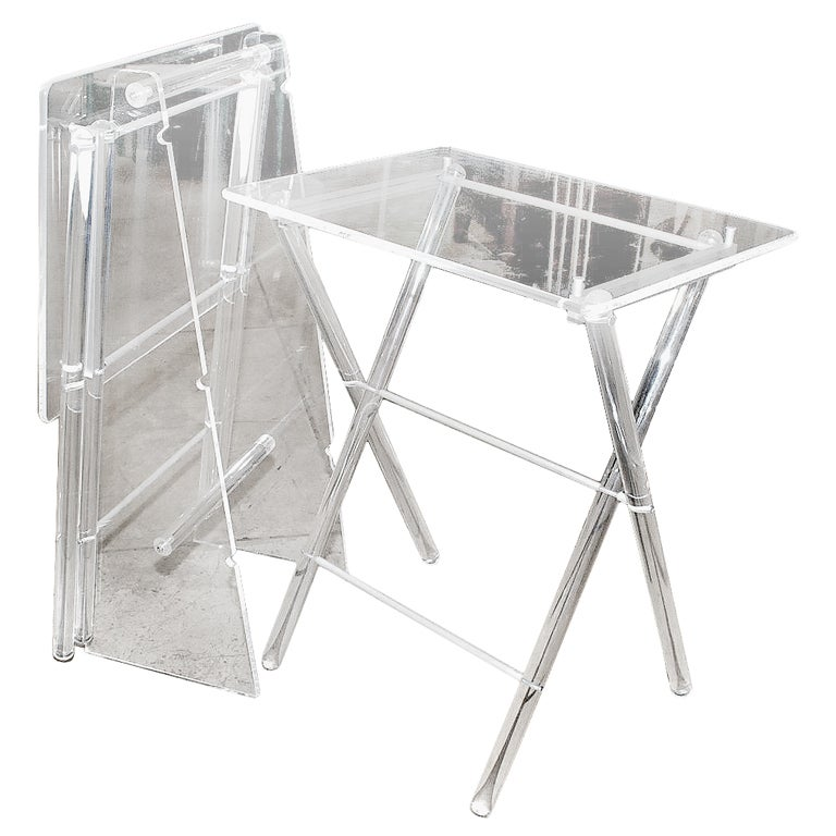 1970 S Lucite Folding Tables W Lucite Stand At 1stdibs