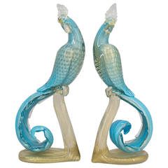 Pair of Murano Glass Barbini Birds