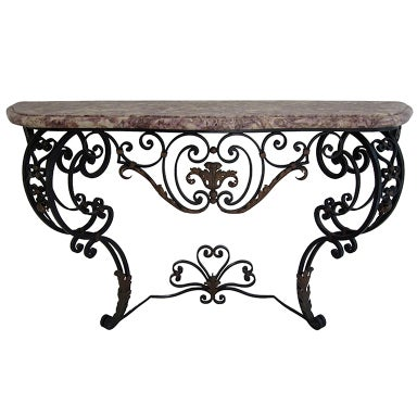 French Wrought Iron Console With Marble Top At 1stdibs