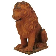 French Terracotta Lion Sculpture