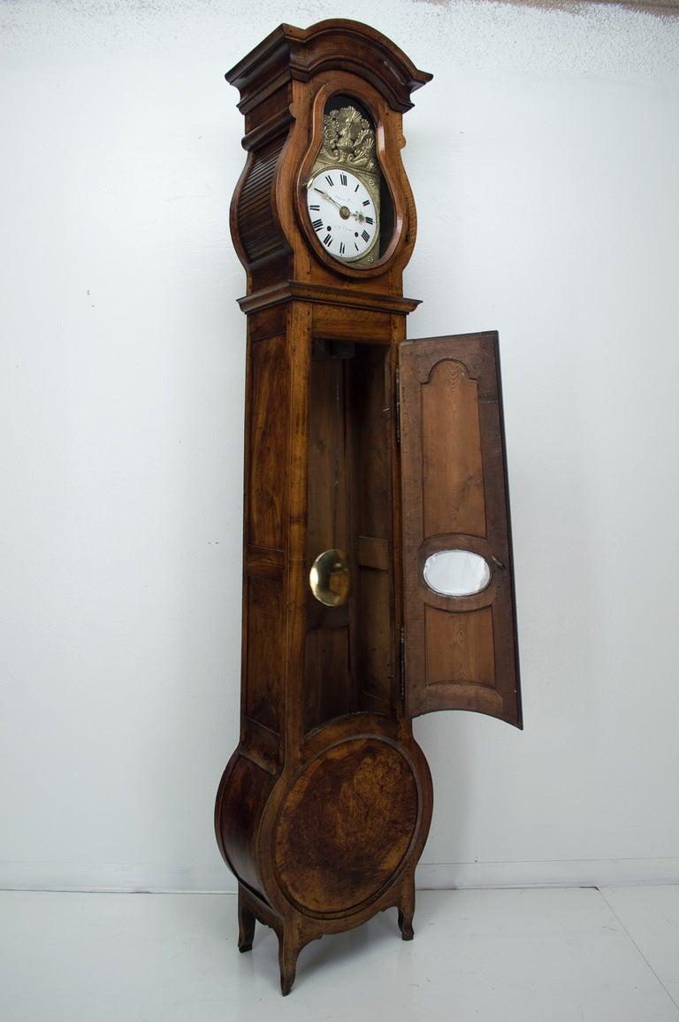 19th c french horloge de parquet demoiselle or tall case clock at 1stdibs. Black Bedroom Furniture Sets. Home Design Ideas