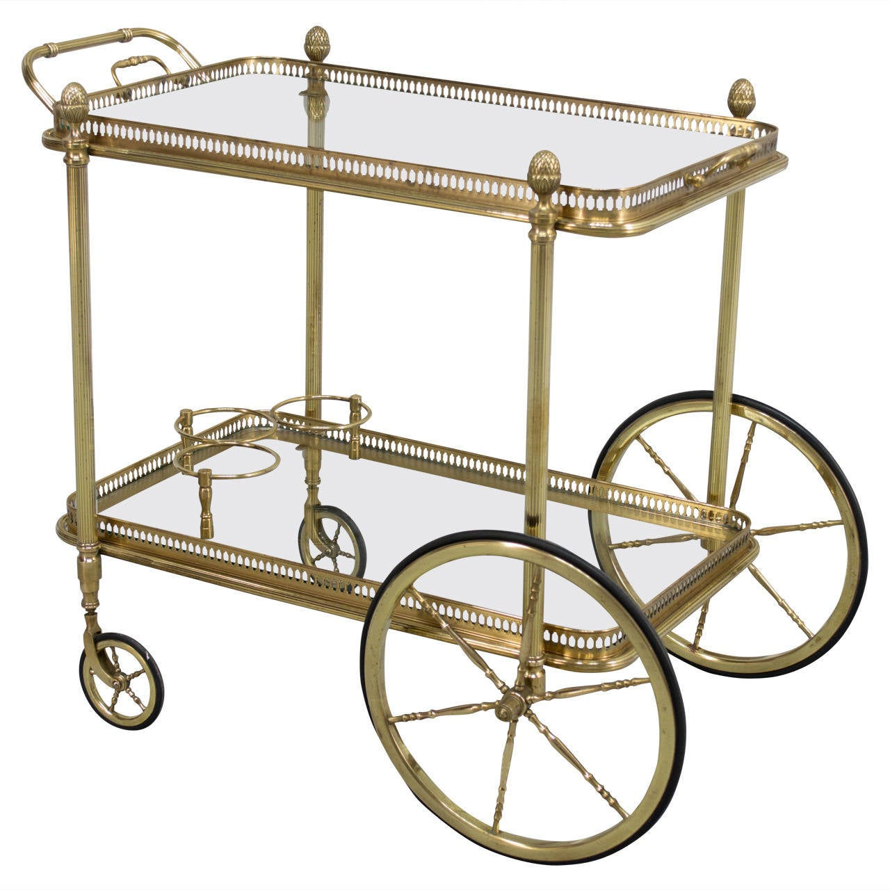 french brass bar cart at 1stdibs. Black Bedroom Furniture Sets. Home Design Ideas