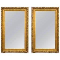 Similar Pair of Large French Giltwood Mirrors