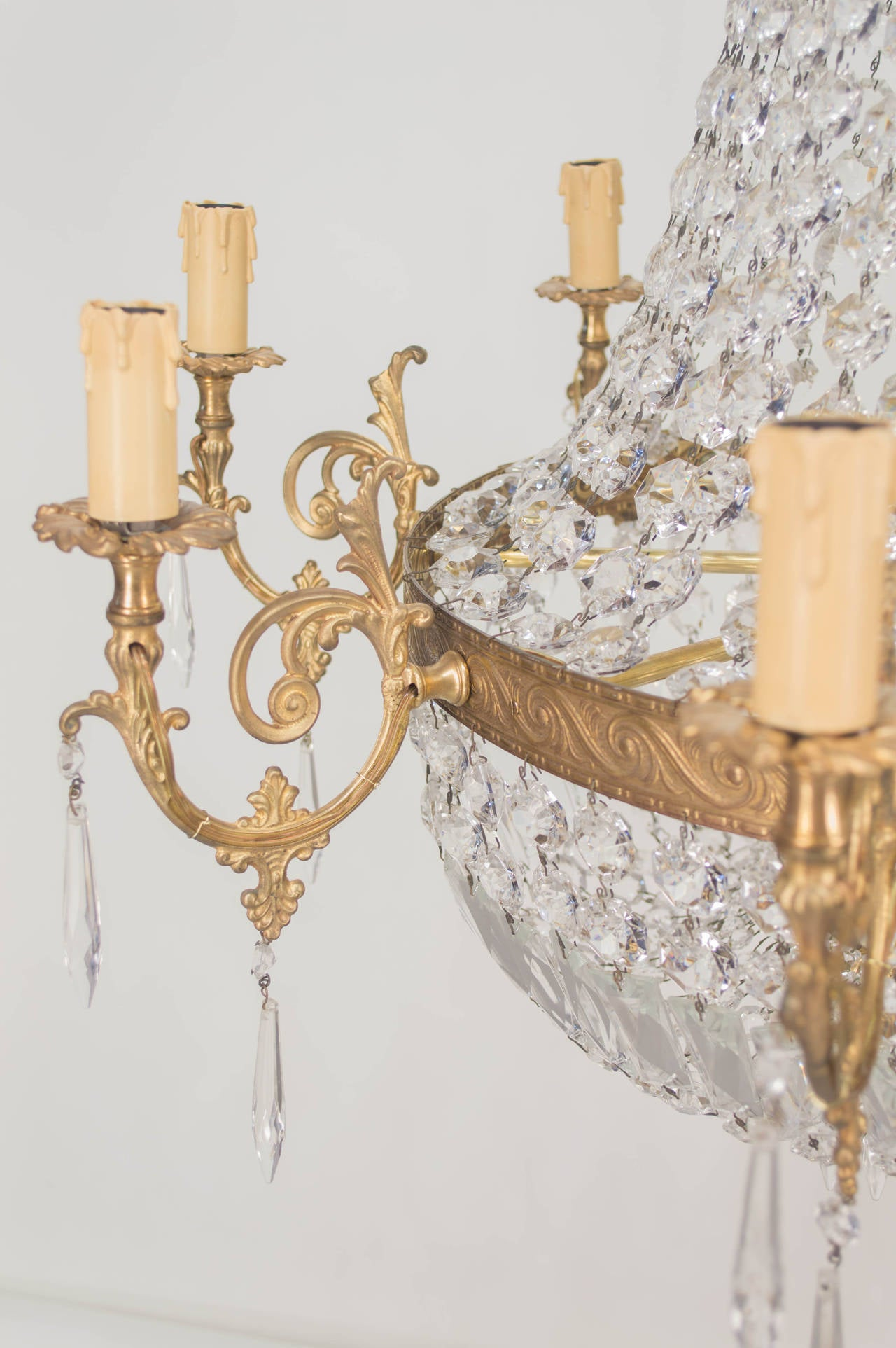 Pair of French Empire Style Crystal Chandeliers at 1stdibs
