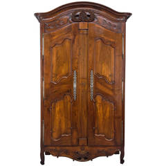18th Century French Louis XV Provencal Bridal Armoire