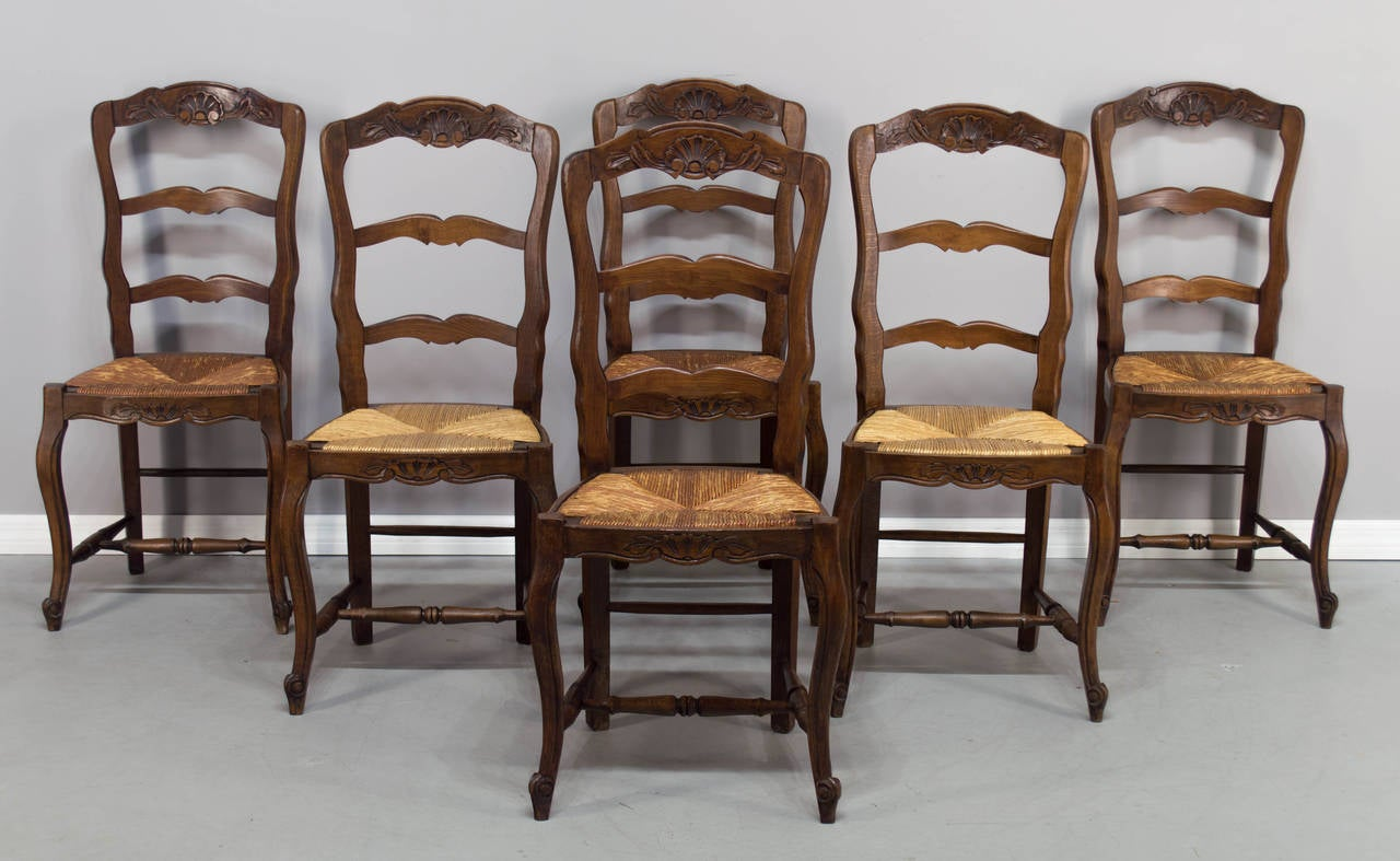set of twelve french country rush seat chairs image 6