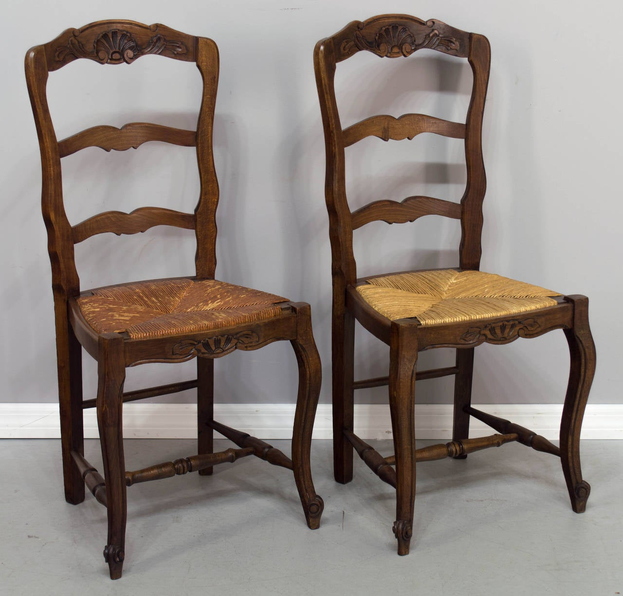 set of twelve french country rush seat chairs image 4