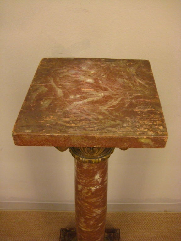 20th c. French Faux- Marble Column or Pedestal 6