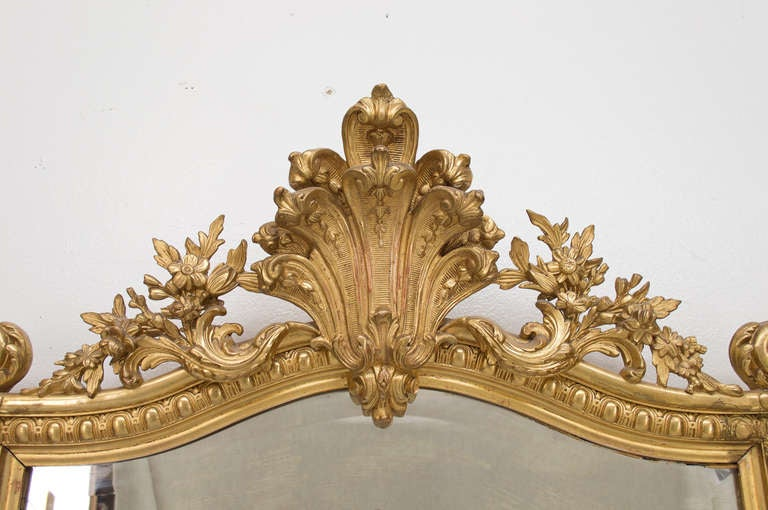 19th C. French  Louis XV Style Gilded MIrror 5