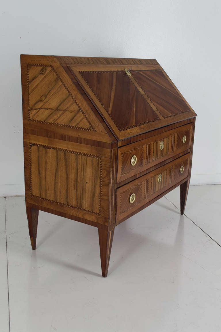 18th c louis xvi italian marquetry bureau de pente or slanted desk at 1stdibs. Black Bedroom Furniture Sets. Home Design Ideas
