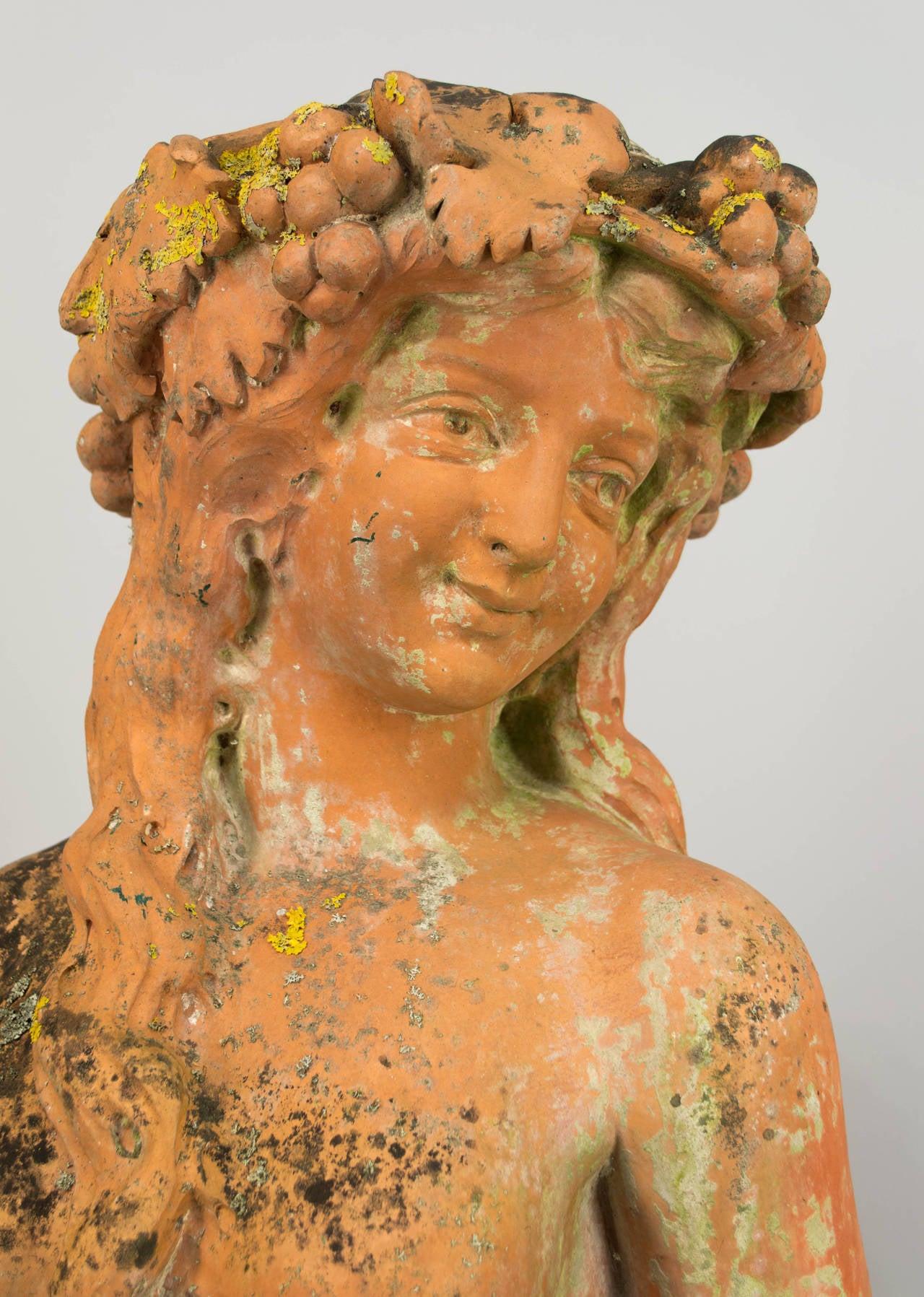 19th Century Italian Terracotta Garden Statue For Sale At