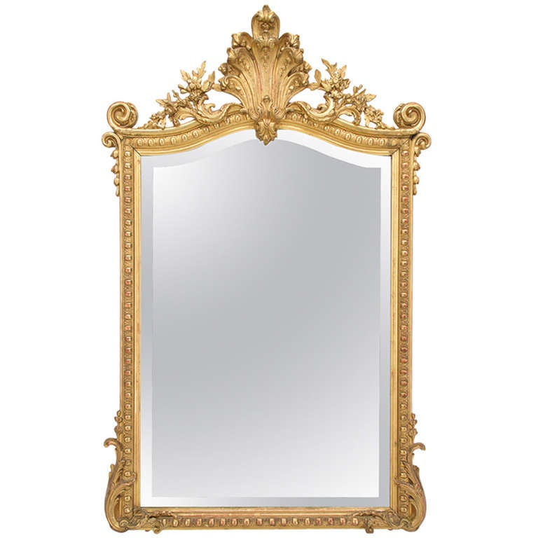 19th C. French  Louis XV Style Gilded MIrror 1