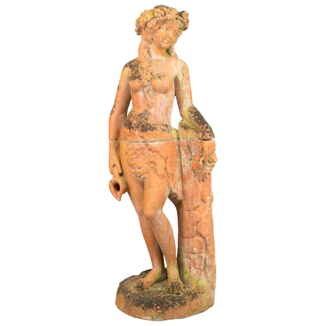 Antique Italian Terracotta Garden Statue