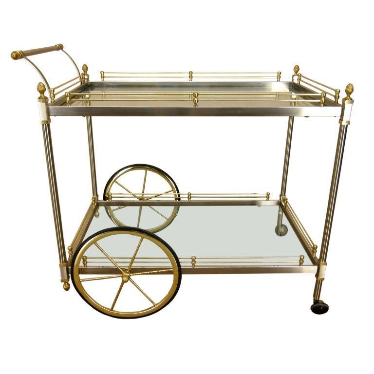 image of italian chrome and brass bar cart in the style of r