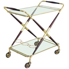Italian Folding Bar Cart by Cesare Lacca