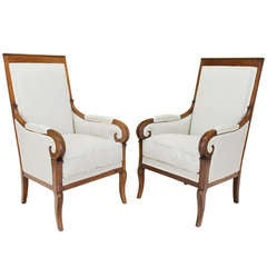 19th c. Empire Pair of Fauteuils or Arm Chairs
