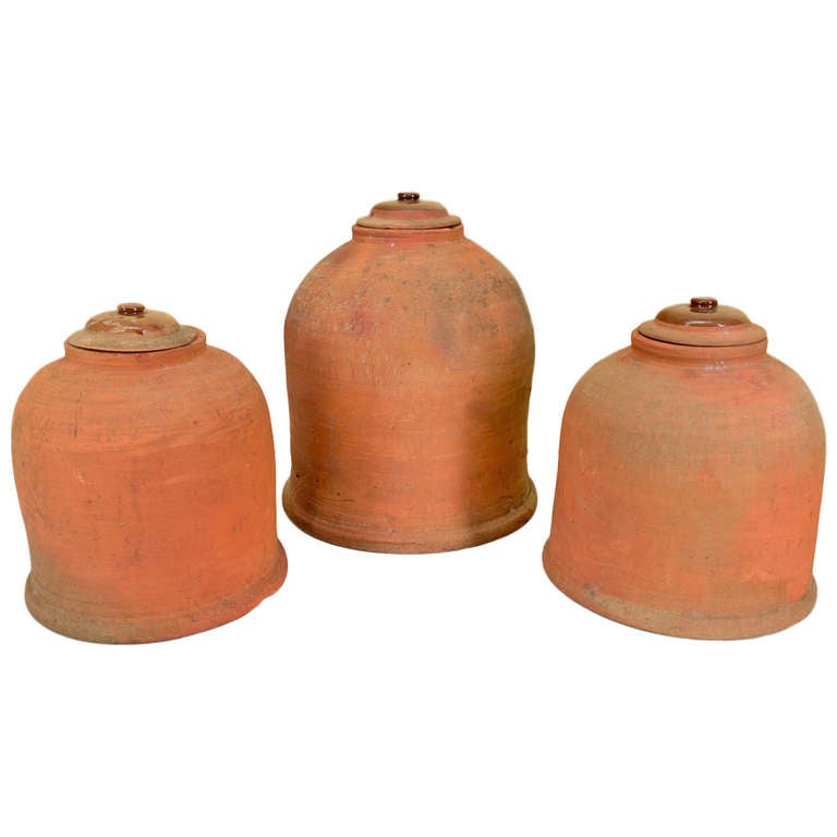 French set of three terracotta garden cloche salade at - Cloche a salade ...