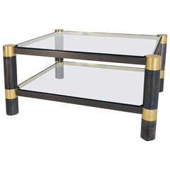 Karl Springer Steel and Brass Coffee Table
