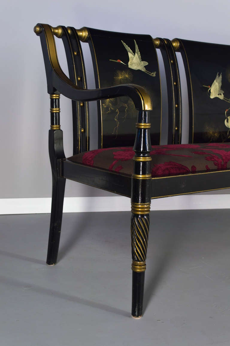 Set Of Lacquered Sofa And Pair Of Armchairs In A Japanese