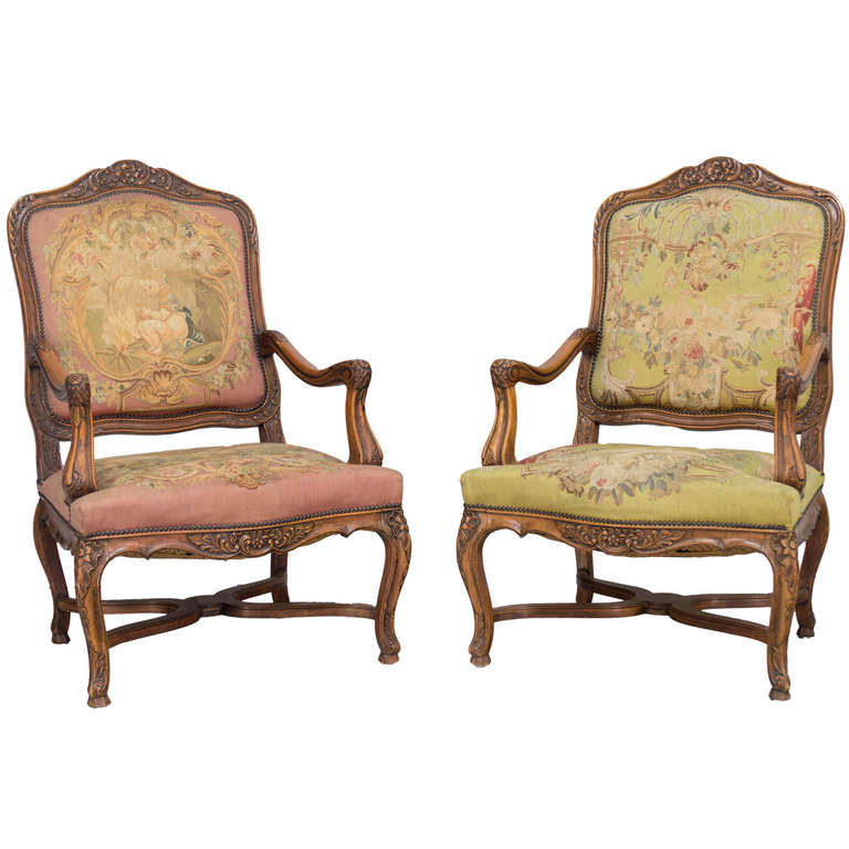 Pair of 19th c. French Louis XV Style Fauteuils Armchairs