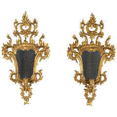 Pair of Italian Rococo Style Mirrors with Candleholders