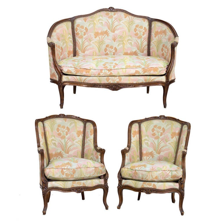 Louis Xv Style Sofa And Pair Of Bergeres At 1stdibs