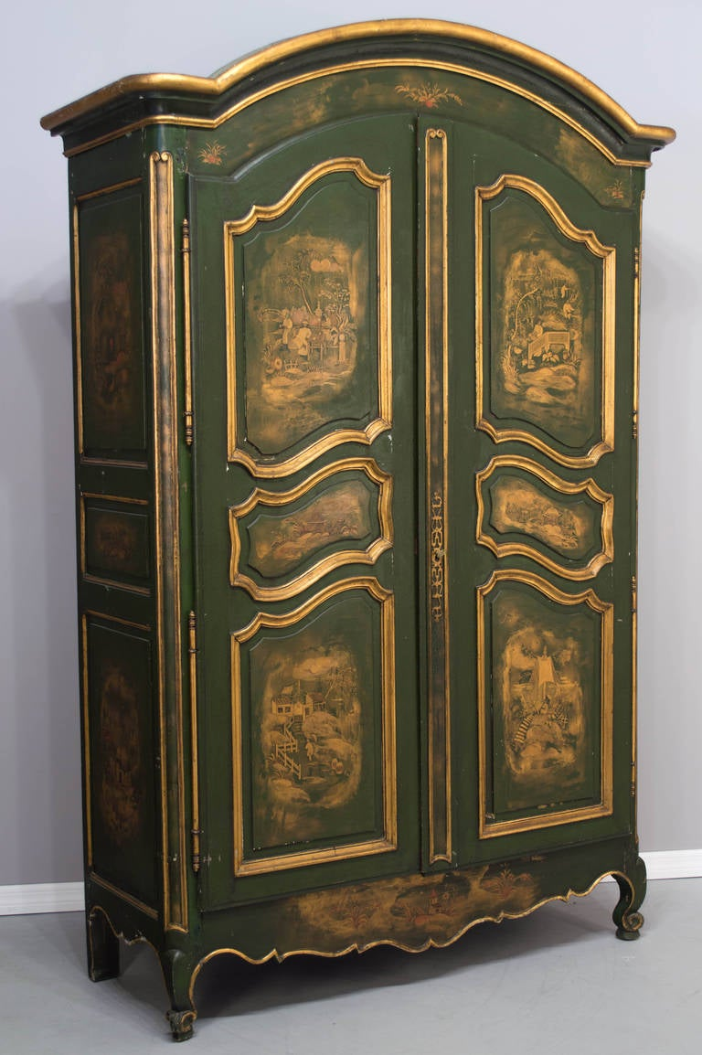 18th french louis xv chinoiserie painted armoire at 1stdibs. Black Bedroom Furniture Sets. Home Design Ideas