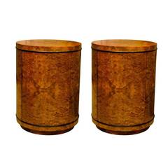 Dramatic Pair of Vintage Henredon End Tables or Night Stands in Olive Wood