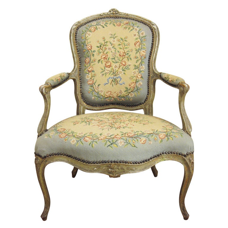 French Single Louis Xv Fauteuil Or Arm Chair At 1stdibs