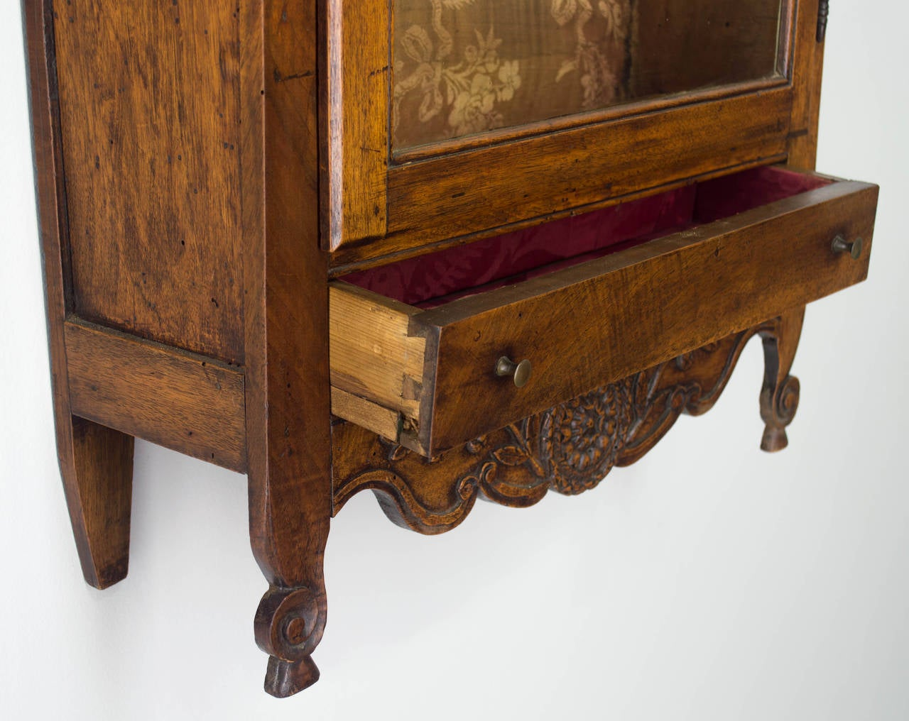 Walnut 18th Century French Louis XV Verrio or Display Cabinet For Sale