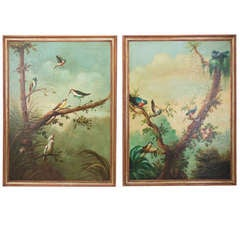 Pair of Large Italian Ornithology Paintings