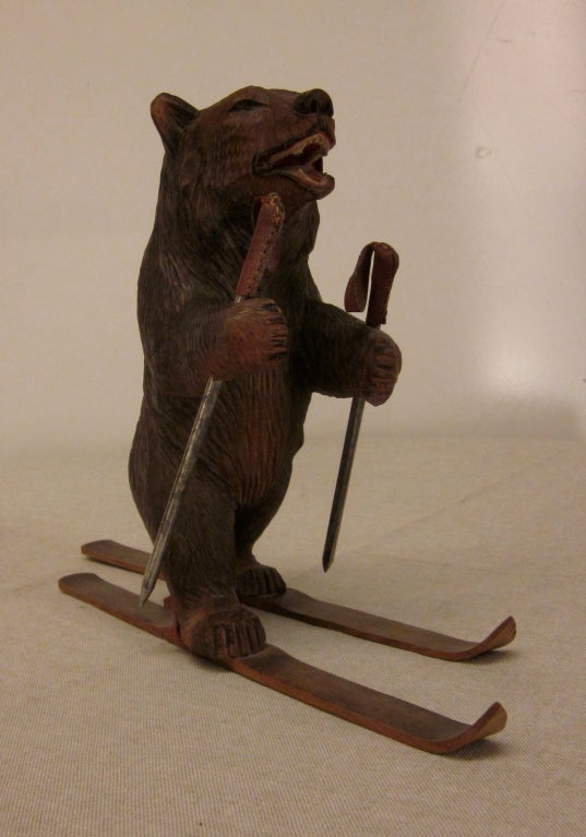 Black Forest Carved Bear On Ski At 1stdibs