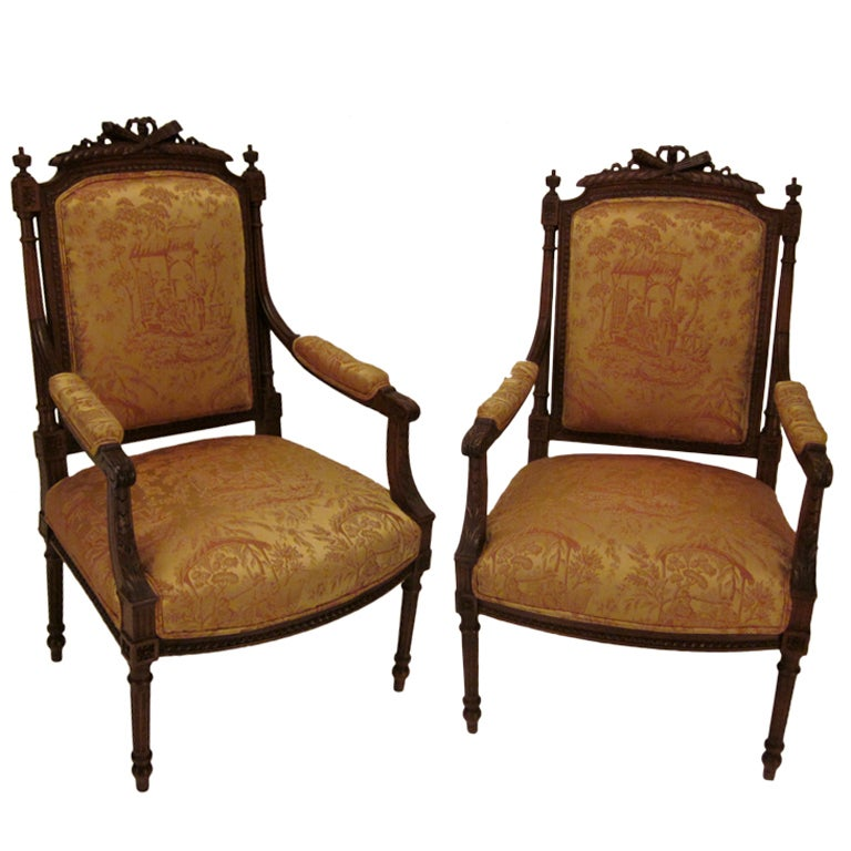 pair of louis xvi style fauteuils or arm chairs at 1stdibs. Black Bedroom Furniture Sets. Home Design Ideas