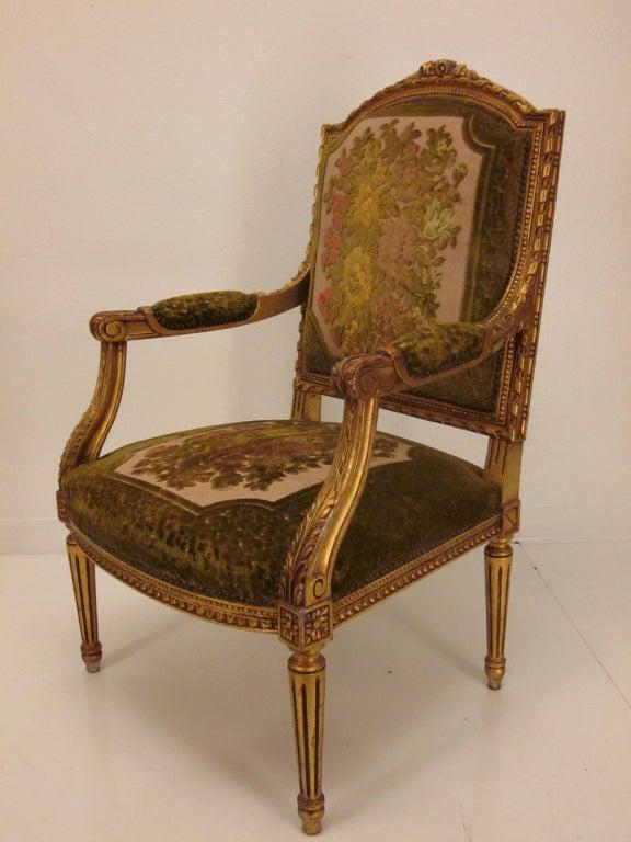Louis Xvi Style Gilded Salon Set With A Sofa And Four Arm