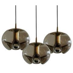 Set of Three Smoked Glass Hanging Lights
