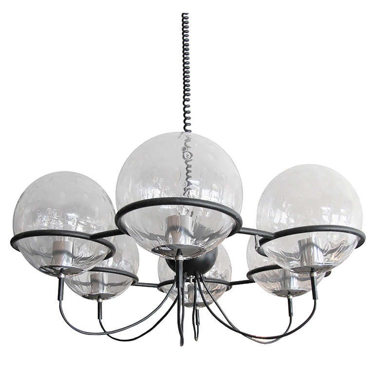 RAAK, Saturnus, Six Globe Chandelier For Sale