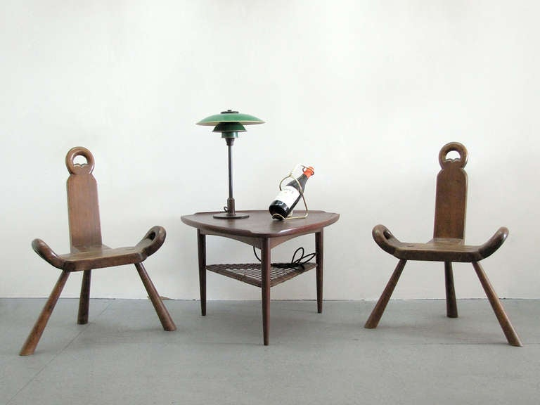 Pair Of Swedish Three Legged Chairs At 1stdibs