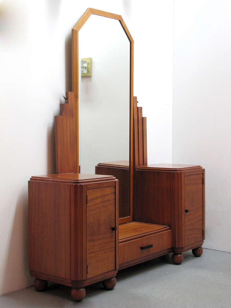 Teak Vanity With Full Size Mirror At 1stdibs