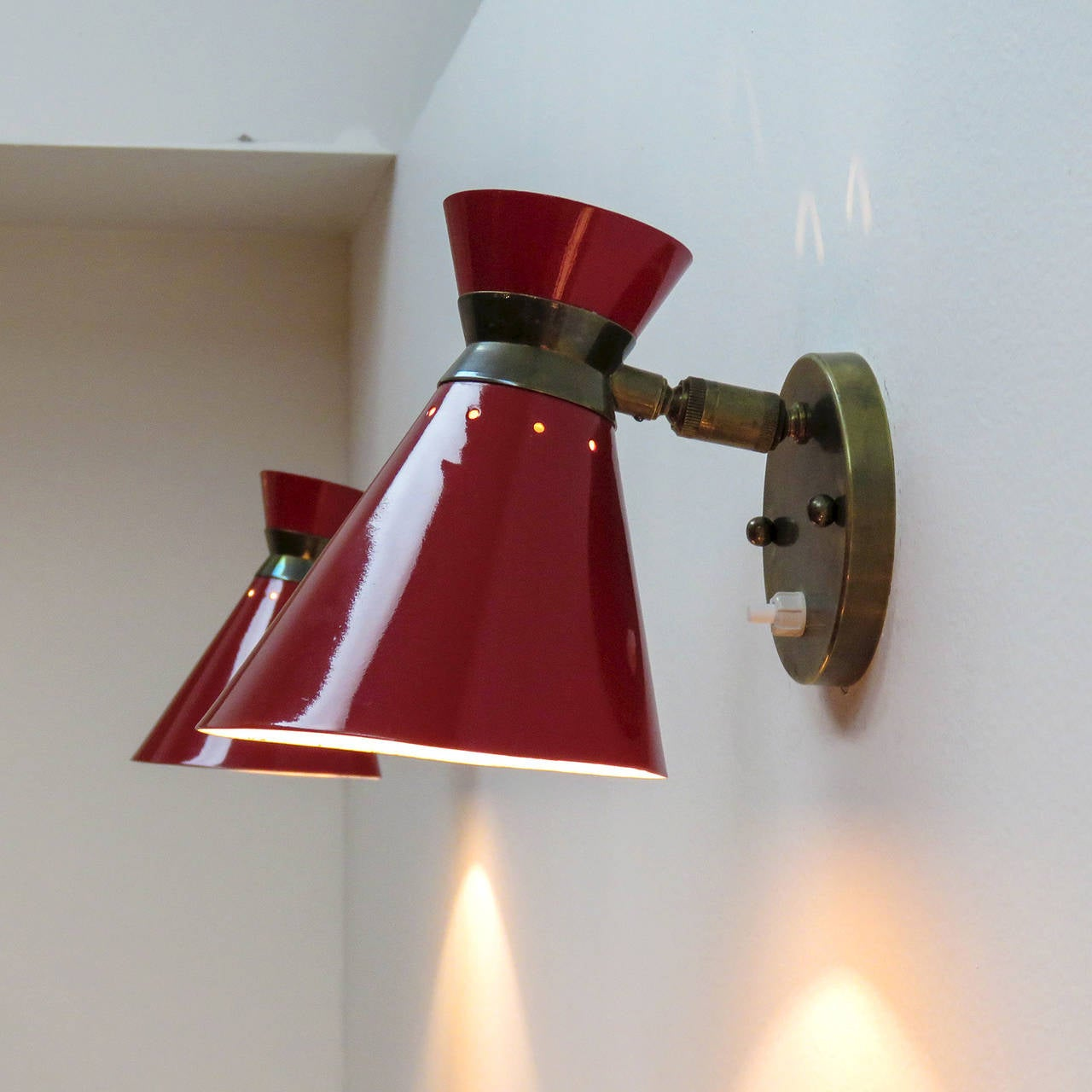 French Enamel Wall Lights : Pair of French Double Cone Wall Lights For Sale at 1stdibs