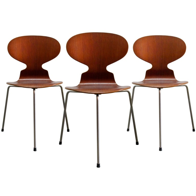 Trio of Arne Jacobsen Ant Chairs