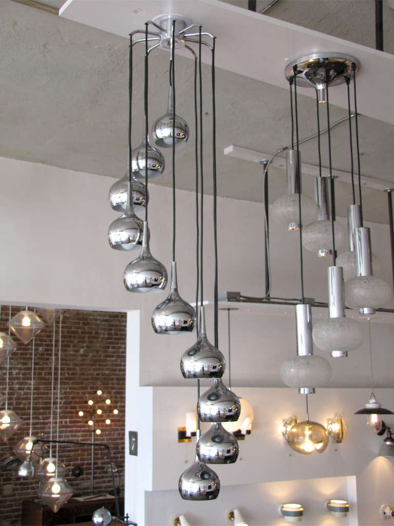 Plated Ten-Tier German Chrome Cascading Chandelier For Sale