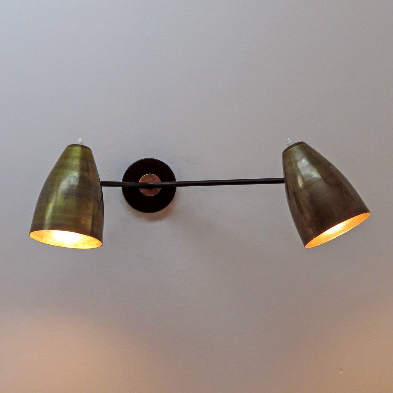 Double Arm Brass Wall Lights L3G at 1stdibs