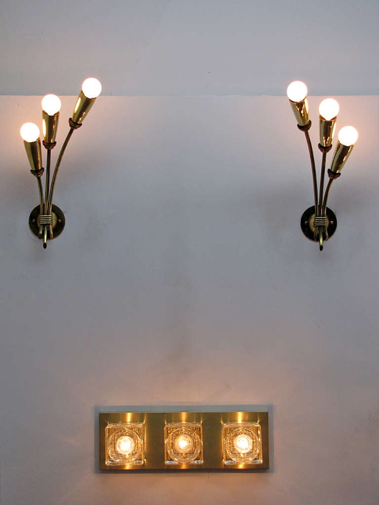 Pair of German Triple Arm Wall Lights 10