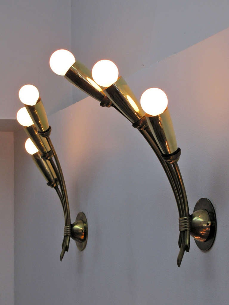 Pair of German Triple Arm Wall Lights 8