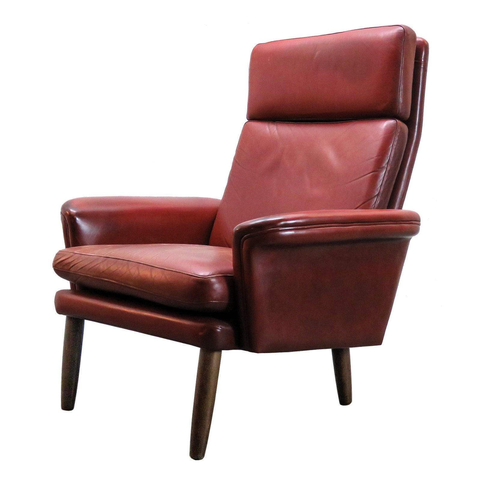 Danish High Back Leather Lounge Chair