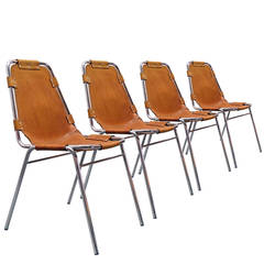 Set of Four Charlotte Perriand Stacking Chairs Les Arcs, France, 1960