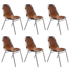 Set of Six Charlotte Perriand Stacking Chairs Les Arcs, France, 1960