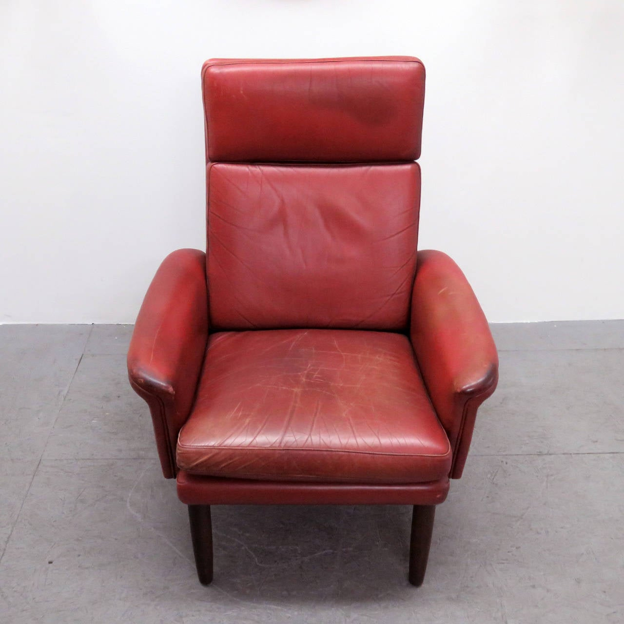 Danish High Back Leather Lounge Chair For Sale At 1stdibs